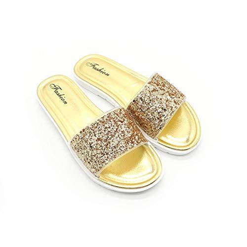 Durevole Sandali Splendente Da Antiscivolo Pu Bling Donna Traspirante Lustrino Personalità Pelle Pantofole Gold Estivi qvZ6wq
