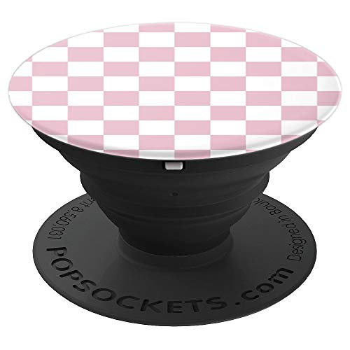 Checkerboard Pink and White | Check Pattern / Checkered - PopSockets Grip and Stand for Phones and Tablets -