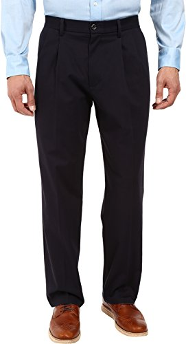 Comfort Fit Stretch Pants - Dockers Men's Relaxed Fit Stretch Signature Khaki Pants - Pleated D4, Navy (Stretch), 36W x 32L