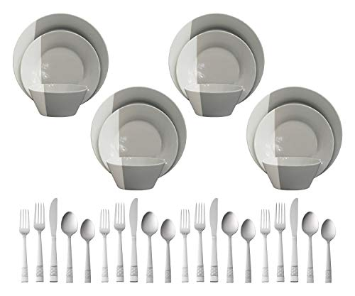 Better Homes & Gardens 12-Piece Color Dipped Dinnerware Set, Grey bundle with Mainstays Pierremont 20-Piece Stainless Steel Flatware Set (Better Forks Steel Stainless Home)