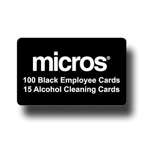 100 Micros Server Swipe Cards Choose Your Color + 15 Swipe Reader Cleaning Cards (Black)