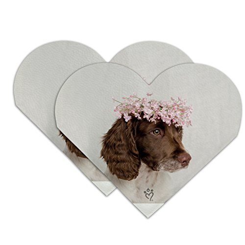 Springer Spaniel Dog Flower Blossom Tiara Heart Faux Leather Bookmark - Set of 2