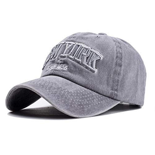 Eohak Baseball Hat New-York Distressed-Adjustable-Strapback - Washed Cotton Dad Hat Unisex (Light Grey)