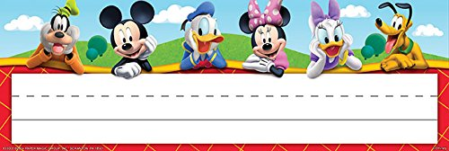 """Eureka Mickey Mouse Clubhouse Name Plates, includes 36 self-adhesive name plates, measuring 9.5"""" x 3.25"""""""