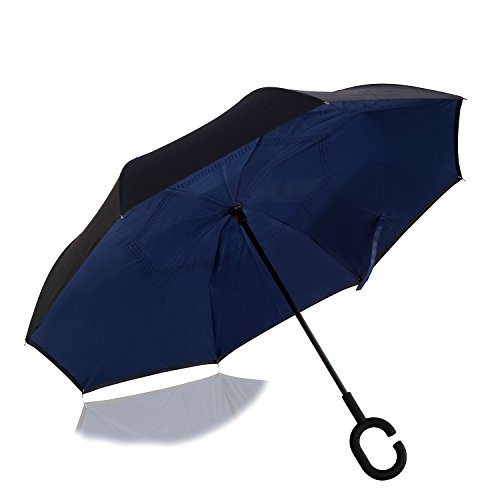Automatic Open Reverse/Inverted Umbrella (Black/Navy Blue) - 5