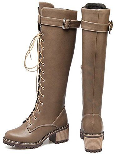 Idifu Donna Retro Cerniera Laterale Punta Rotonda Mid Boots Con Tacco Medio Alti Con Fibbia Marrone