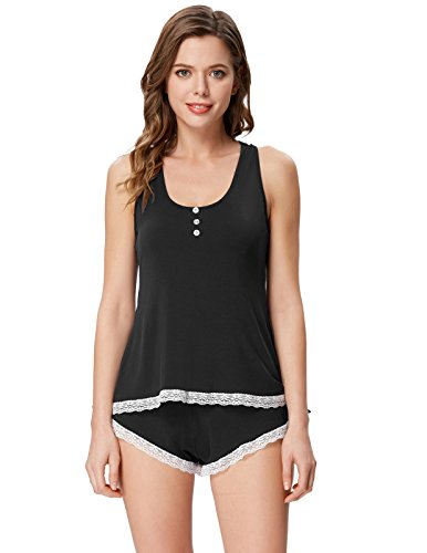Spandex Sleep Pant (Zexxxy Women Cotton Pajama Set With Lace Hem Racerback Tanks and Shorts Size XL Black)