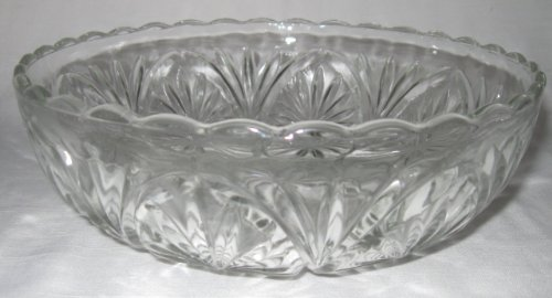 Vintage Glass Clear Round Bowl 8 In. Diameter