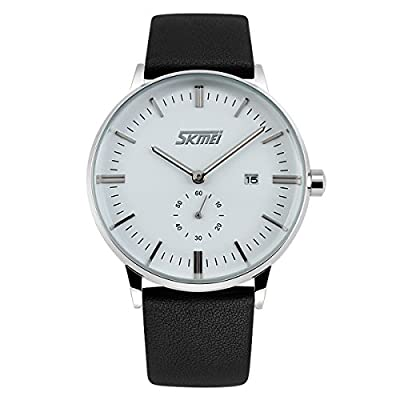 BesWLZ Mens Business Unisex Quartz Analog Waterproof Wristwatch with White Dial PU Leather Band Two Time Zone Watches 30ATM Water Resistant