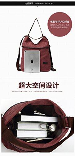 MOLLYGAN Multi-purpose Canvas Shoulder Bag Backpack School Bag Khaki by MOLLYGAN (Image #4)