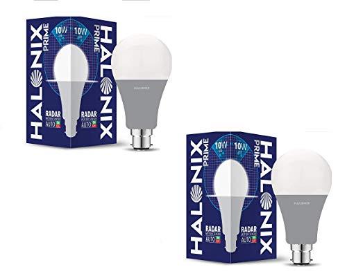 Halonix Prime B22 10-Watt LED Cool Day Light Motion Sensor Bulb (White, Pack of 2)