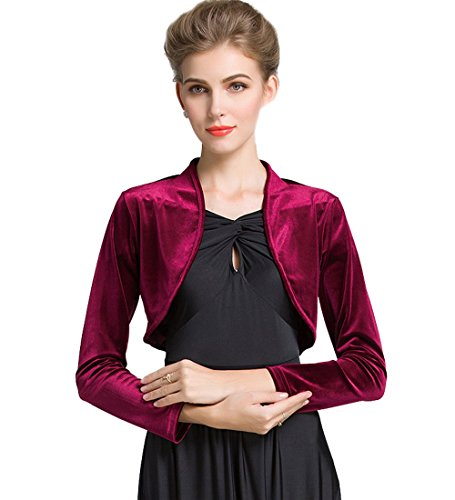 Medeshe Women Long Sleeve Velvet Open Front Cardigan Cropped Bolero Shrug (Burgundy Red, S) ()