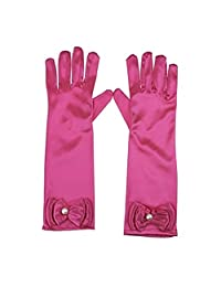 RUNHENG Kids Stretchy Satin Long Finger Dress Gloves (Rose)