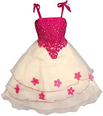 Flower Girl Bridesmaid Pageant Wedding Dress Cerise Pink Yellow Sz 5-6 Years