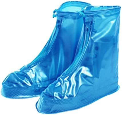 レインブーツ、防水シューズ、防雨靴カバー、ミッドチューブフラットレインシューズ、メンズと女性のプラットフォーム防水シューズ、レインブーツ、レインブーツ、ライトブルー
