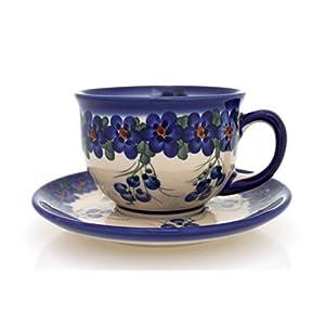 Classic Boleslawiec Pottery Hand Painted Ceramic Tea Cup and Saucer 200ml 033-U-001