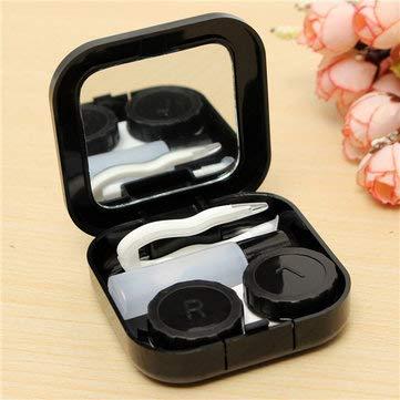 4 Portable Cute Travel Contact Lens Case Eye Care Kit Holder Mirror Box - Eye Care Contact Lenses Supplies - (Black) -