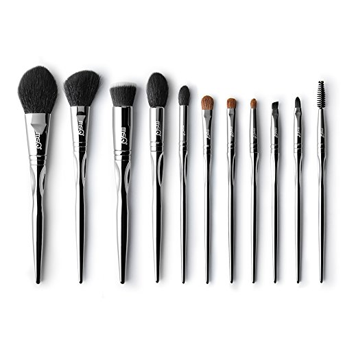 ba2841503c1a Makeup Brushes Set MSQ 11pcs Silver Picasso Natural   Synthetic Hair  Cosmetics Foundation Blending Blush Eyeshadow