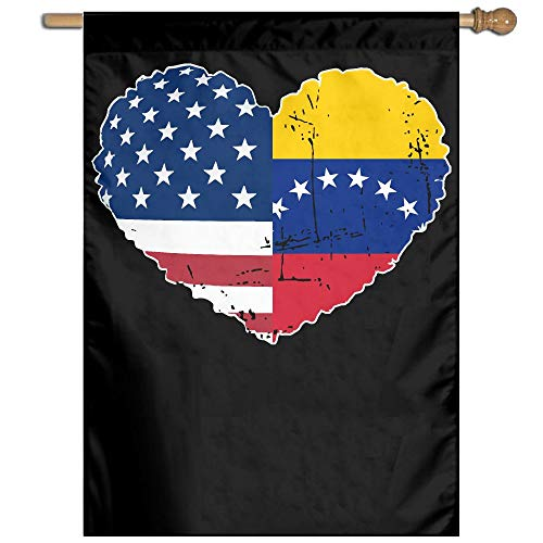 MKLNHBGFCH37 Venezuela USA Flag Heart Welcome Garden Flag Yard Flag Family Flag 27
