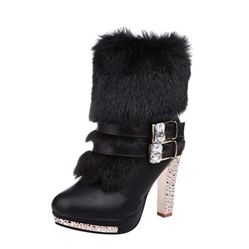 ChyJoey Women's Furry Winter Ankle Boots Platform Glitter Rhinestone Studded Zipper Warm Short Booties