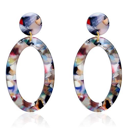 UNIWILL Acrylic Earrings Tortoise Shell Resin Earrings Drop Dangle Statement Earrings for Women Fashion Jewelry (Colorful-02)