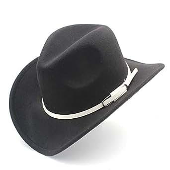 SHENTIANWEI Men Women Western Cowboy Hat with White Leather Belt Pop Wide Brim Jazz Hat Sombrero Hat Adult Church Hat Size 56-58CM (Color : Black, Size : 56-58)