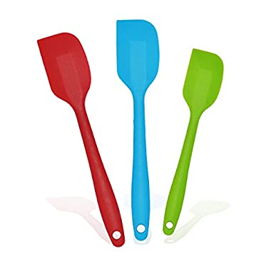 Set of 2 Large and 1 Small Premium Silicone Spatulas with Steel Core Handles