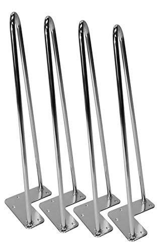 Hairpin Table Legs (Set of 4), Heavy Duty Chrome Rods for Industrial Design Look (16 inch)