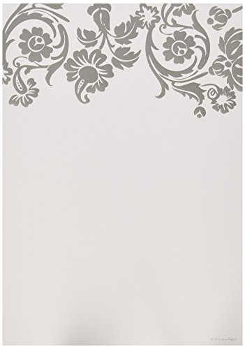 - Great Papers! Silver Damask Foil Flat Cards with Envelopes, 5.5