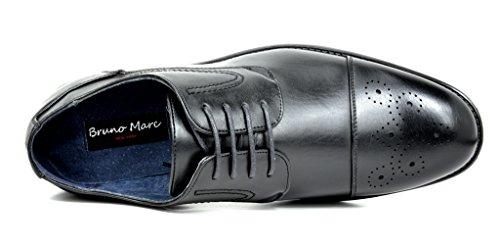 Bruno Marc Mens Halsted Läder Fodrad Cap-toe Klänning Oxfords Skor 1-svart