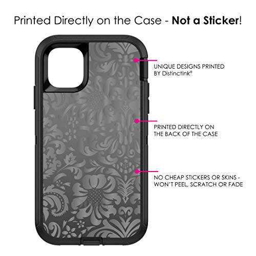 "DistinctInk Case for iPhone 11 Pro MAX (6.5"" Screen) - OtterBox Defender Black Custom Case - Shades of Grey Floral Pattern"