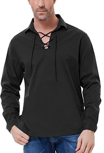 PAUL JONES Men's Scottish Jacobite Ghillie Kilt Shirt with Lapel Collar Size XL Black -