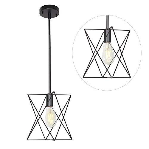 - MELUCEE One Light Cage Pendant Lighting Metal Rod Shade Black, Farmhouse Light Fixtures Ceiling Hanging for Dining Room Kitchen Hallway Bedroom