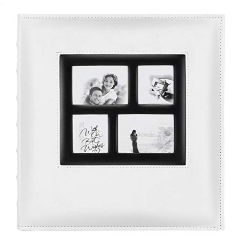 Artmag Photo Picutre Album 4x6 600 Photos, Extra Large Capacity Leather Cover Wedding Family Photo Albums Holds 600 Horizontal and Vertical 4x6 Photos with Black Pages (White)