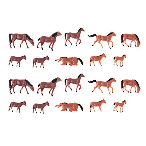 Homyl 20Pcs 1/87 HO Scale Horses Model Painted Animal Figure for Miniature Model Train Layout Farm Zoo Wild Animal Park ()
