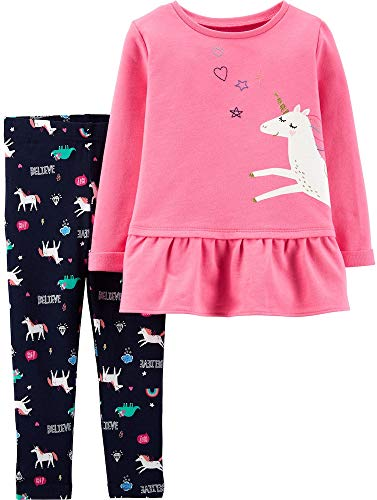 Sweatshirt Stretch Embroidered - Carter's Girls' 2-Piece Long Sleeve Top and Legging Sets (3T, Mystical Unicorn)