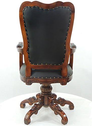 Casa De Muñecas Caoba Silla Giratoria De Escritorio De Cuero Negro muebles de oficina de estudio