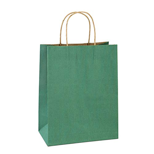 Shopping Bags 8x4.25x10.5 Inches 100Pcs BagDream Gift Bags Kraft Bags Retail Bags Green Stripe Paper Bags with Handles Bulk, 100% Recycled Paper Gift Bags