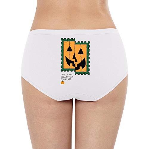 Attractive Women High Waisted Underwear Pumpkin Face Trick or Treat Kiss My Ass Classic String Lingerie (Best Pumpkins For Edible Seeds)