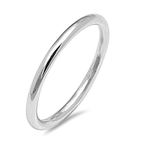 Round Wedding Ring New .925 Sterling Silver Thin 2mm Thumb Band Size 7 (RNG15978-7)