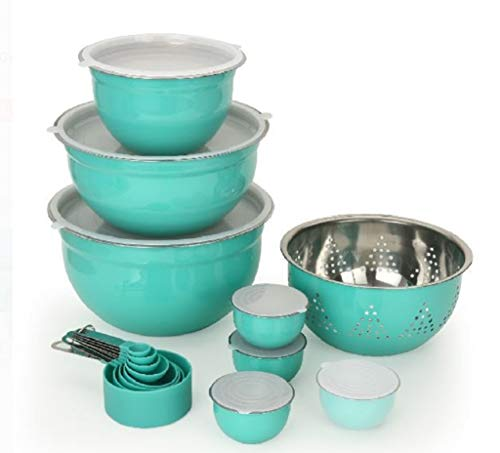 Better Home and Gardens Limited Edition Teal Prep & Store Kitchen Set - Measuring cups, spoons, bowls, colander from Better Home and Gardens