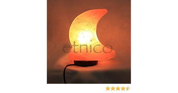 Lámpara de sal a media luna mide 13 x 15 cm aproximadamente sal rosa del Himalaya Luna: Amazon.es: Iluminación