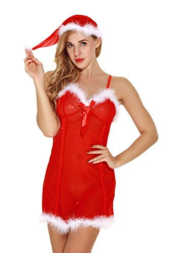 e01db1c2b92be4 Sexymee Sexy Lace Lingerie for Women Red Xmas Mesh Chemise Mini Babydoll  Dress