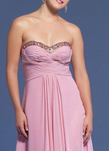 Herz Chiffon Kleidungen Abendkleider Bodenlang Ausschnitt Empire Damen Rosa Aermellos Dearta w7x6tt