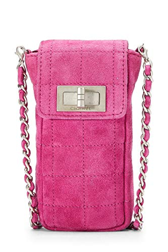 (CHANEL Pink Quilted Suede Reissue Phone Holder (Pre-Owned))