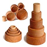 Grimm's Set of 5 Small Wooden Stacking & Nesting Bowls, Natural