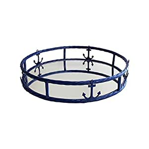 American Atelier Anchor Round Mirror Tray, Navy by Jay Companies