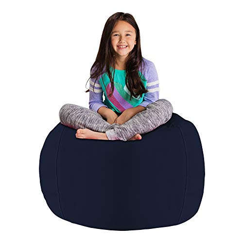 Posh Stuffable AMZST-BLG-SOL-NVY Kids Stuffed Animal Storage Bean Bag Chair Cover - Childrens Toy Organizer, Large-38in, Solid Navy Blue