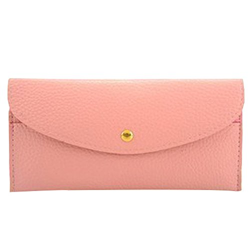 Price comparison product image Outtop Women Fashion Thin Button Coin Cards Holder Wallet Clutch Handbag Purse for Ladies Girls Daily Use (Pink)