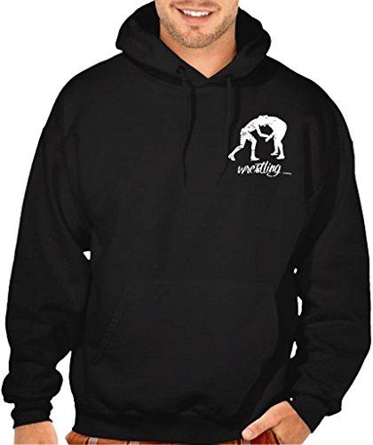 Men's MMA Wrestling Emblem Black Pullover Hoodie Sweater X-Large Black by Interstate Apparel